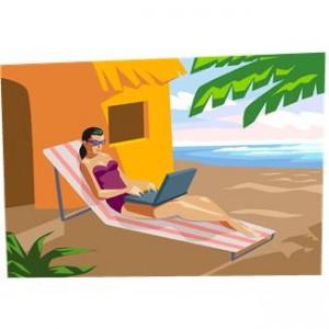"""ClipArt-Bild """"Frau im Bikini auf dem Liegestuhl mit Laptop"""""""