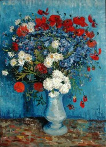 LEF221095 Still Life: Vase with Cornflowers and Poppies, 1887 (oil on canvas) by Gogh, Vincent van (1853-90) oil on canvas 80x67 Private Collection © Lefevre Fine Art Ltd., London Dutch, out of copyright